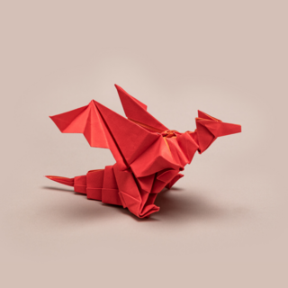 Origami of a red dragon