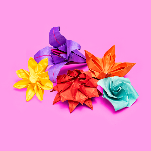 Origami of 5 flowers