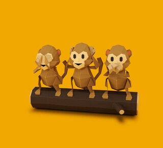 Illustration of three monkeys sitting on a tree