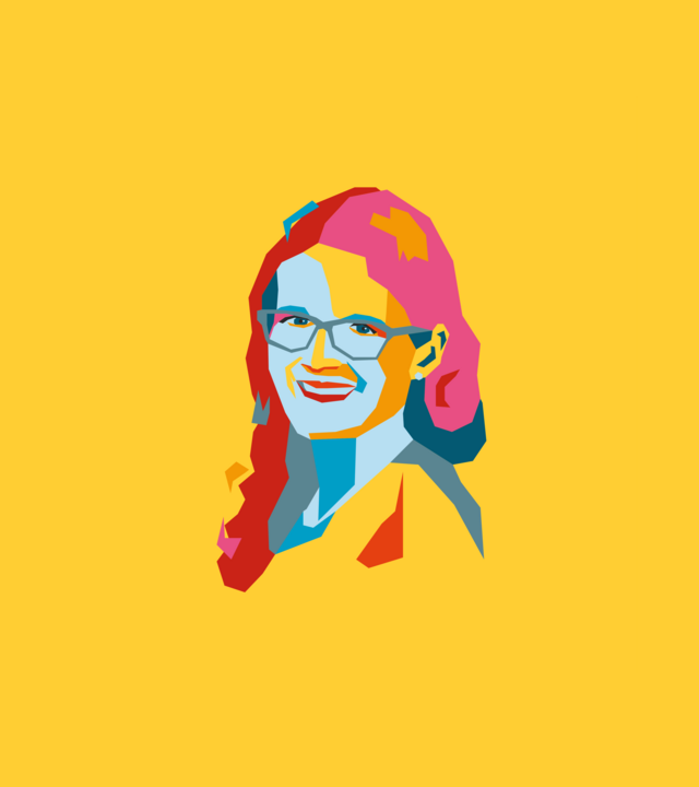 Polygon-style portrait of Jessica Traupe