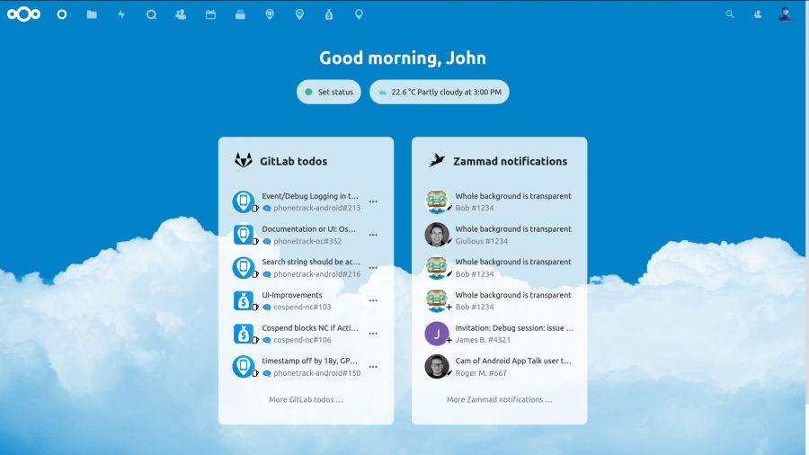 Screenshot Nextcloud Dashboard