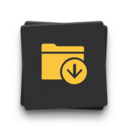 Icon of a folder and an arrow pointing down