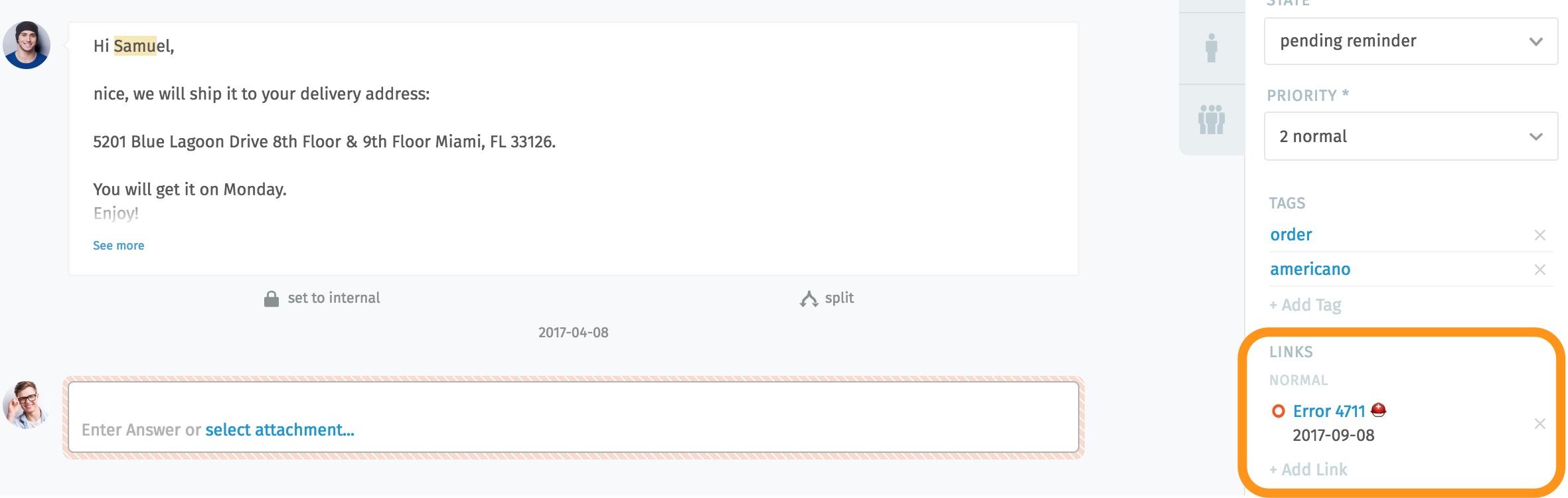 Screenshot Linking Tickets in Zammad