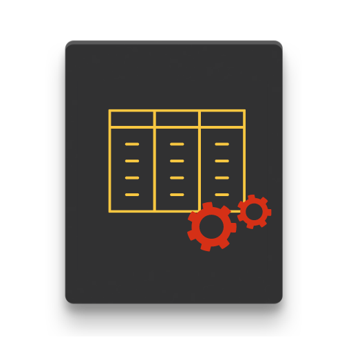 Icon of a yellow table with a red Settings symbol