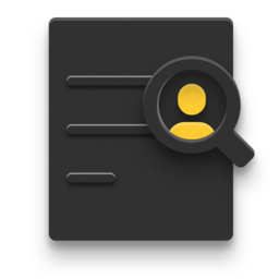 Icon of magnifying glass looking for person