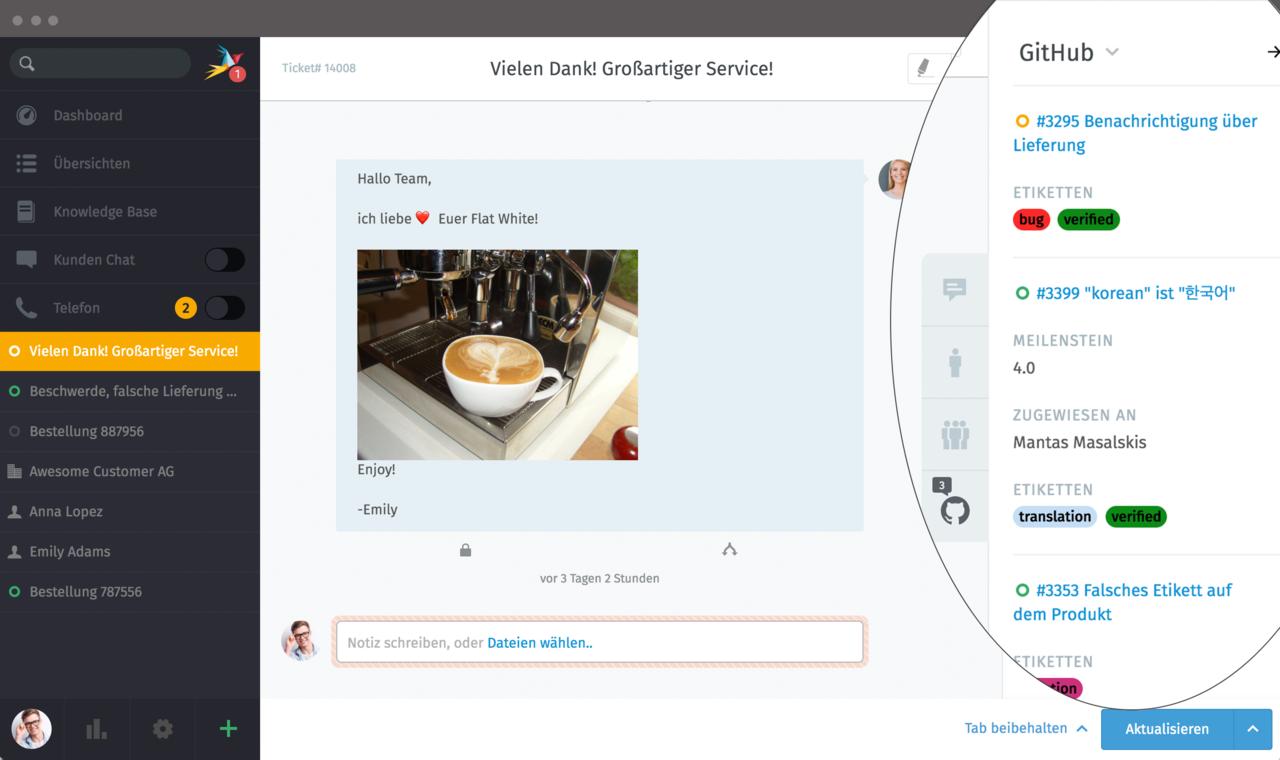 Screenshot of GitHub integration in Zammad