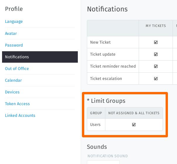 Screenshot groups within Zammad