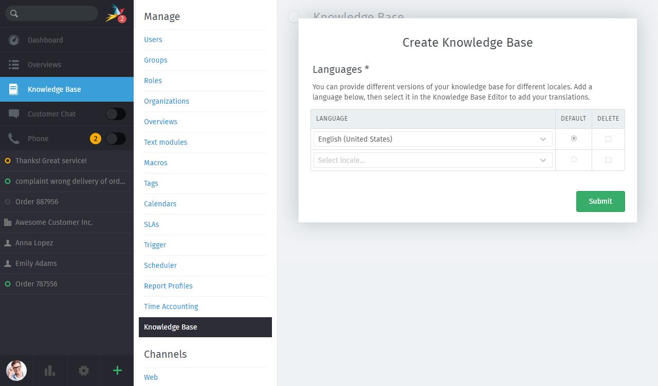 Screenshot Zammad Knowledge Base setup