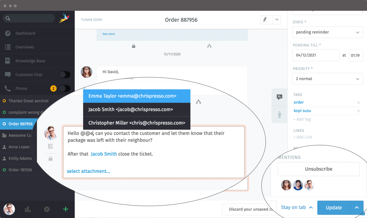 Screenshot of Mentions in Note and Sidebar