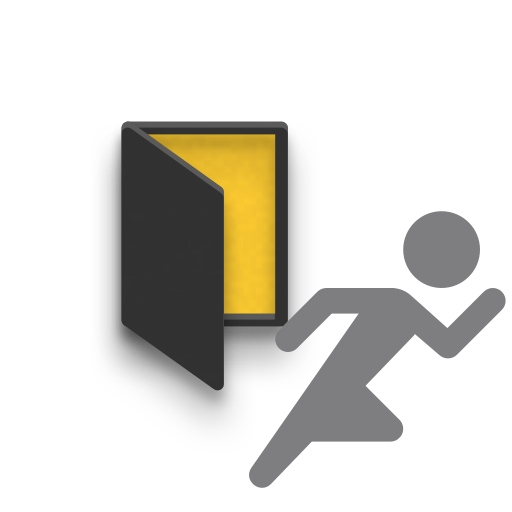 Icon of person running away from door