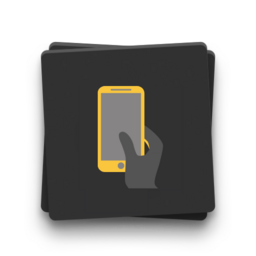 Icon of a hand with a smartphone