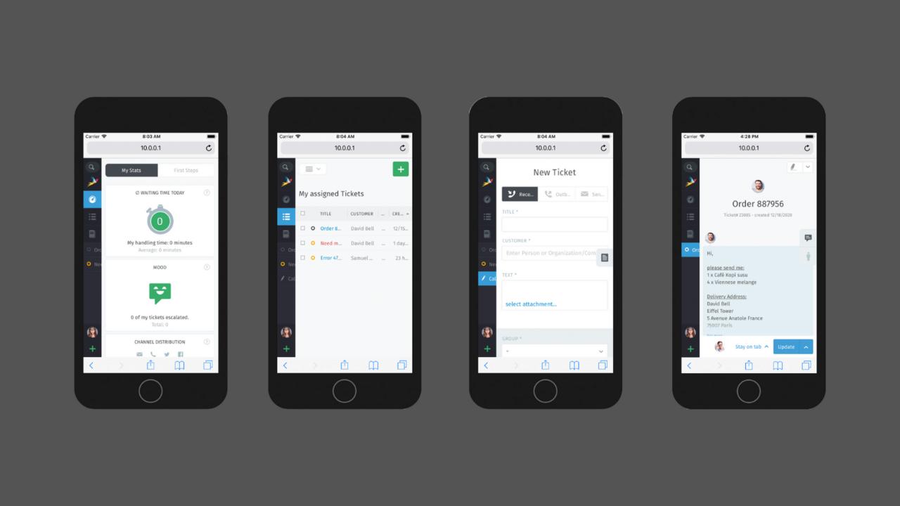 Screenshot of responsive design of Zammad software