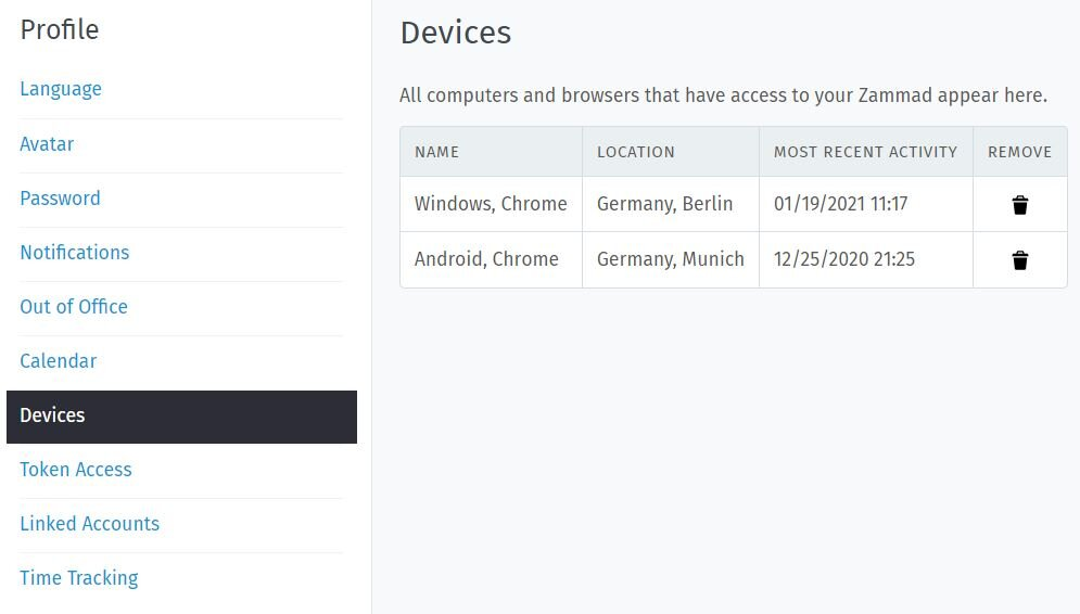 Screenshot Device Settings in Zammad