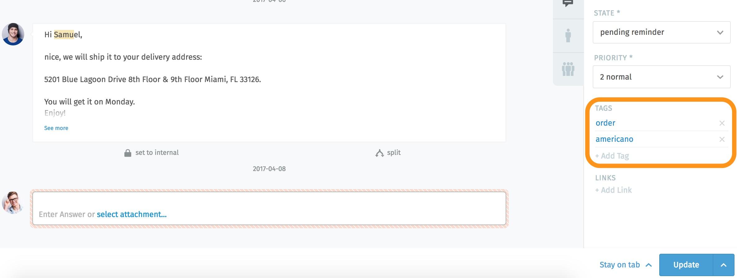 Screenshot of tag settings in Zammad