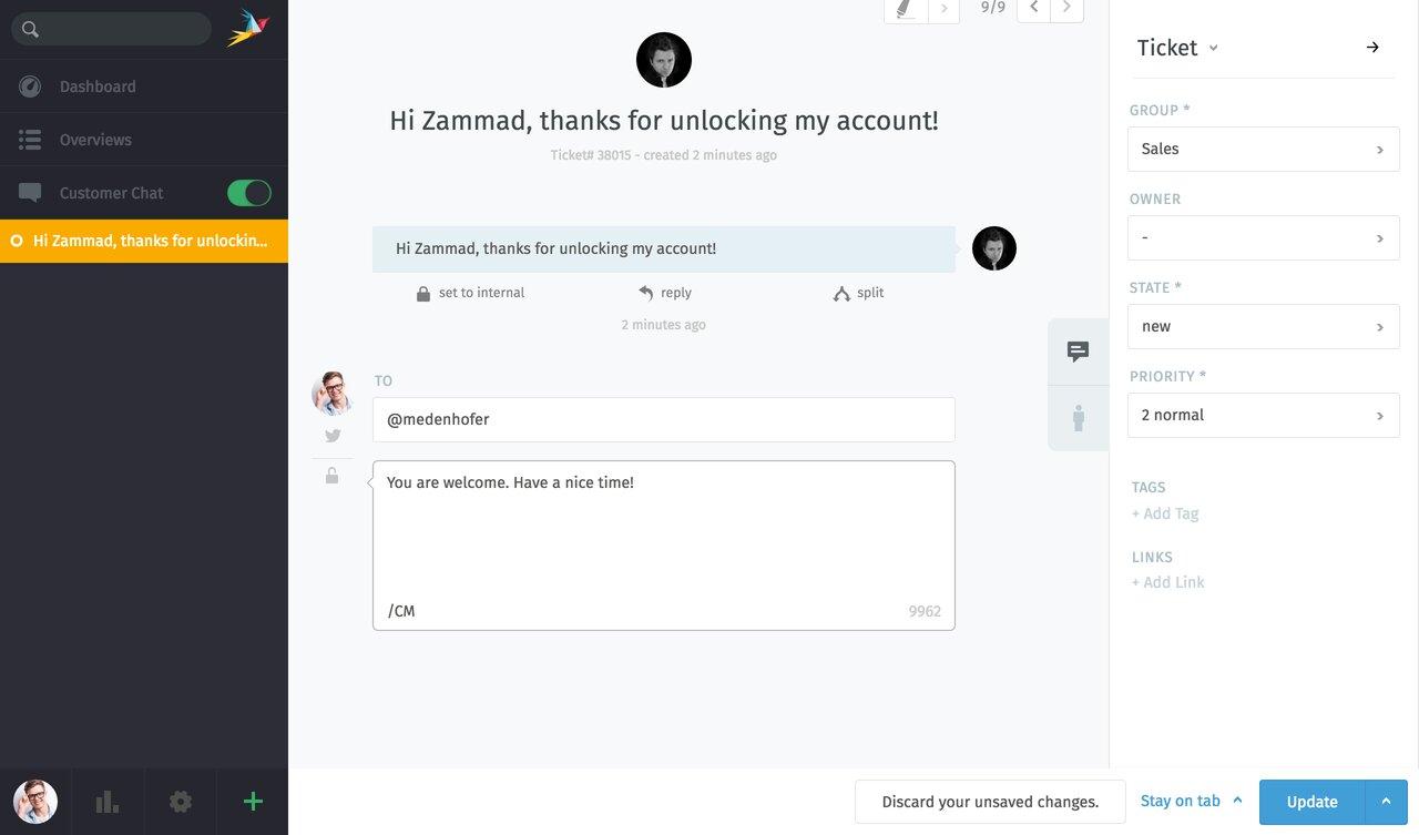 screenshot of Twitter ticket in Zammad