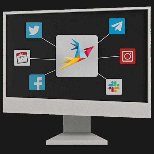 Illustration eines Monitors mit mehreren Icons