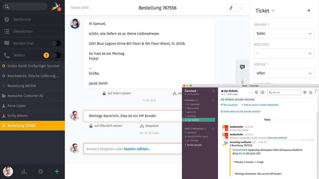 Zammad Screenshot Agent Slack Integration