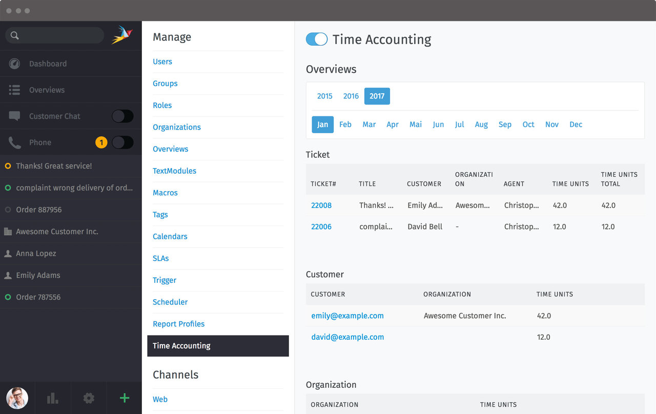 Zammad Screenshot Time Accounting Admin