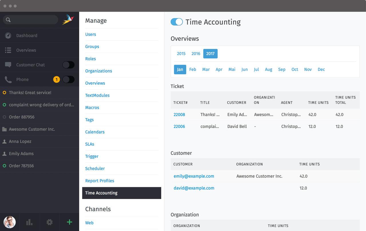 Zammad Screenshot Time Accounting Admin