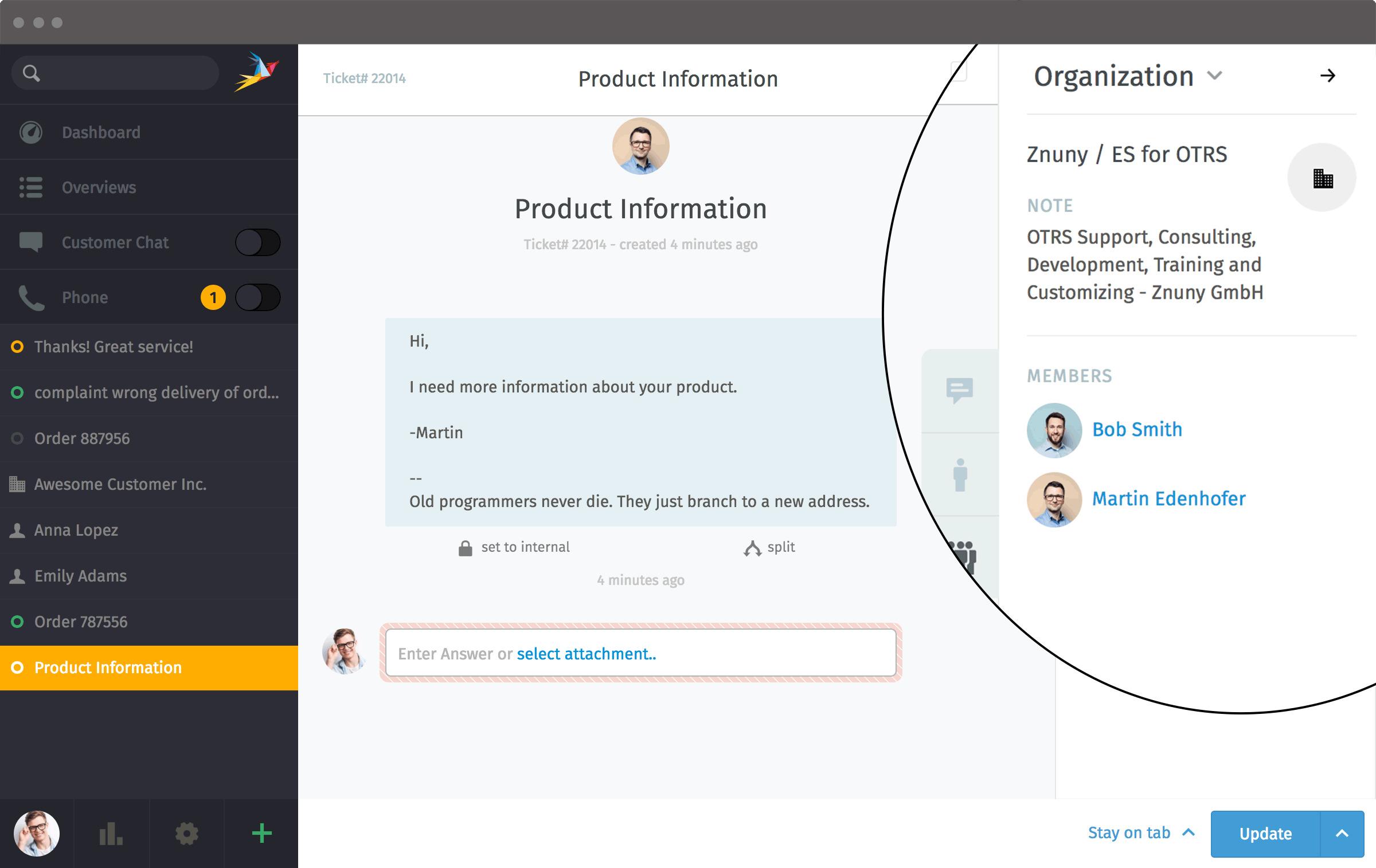 Zammad Screenshot Clearbit Agent Organization