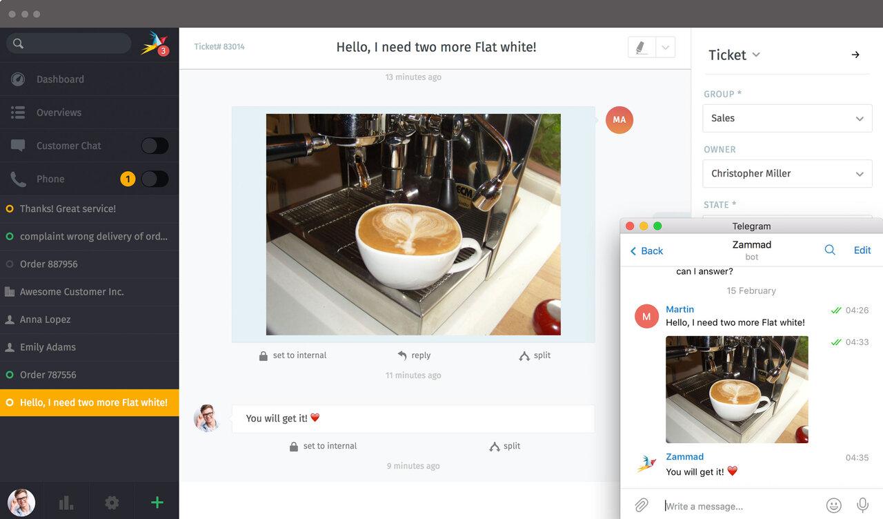 Screenshot Zammad Telegram Integration