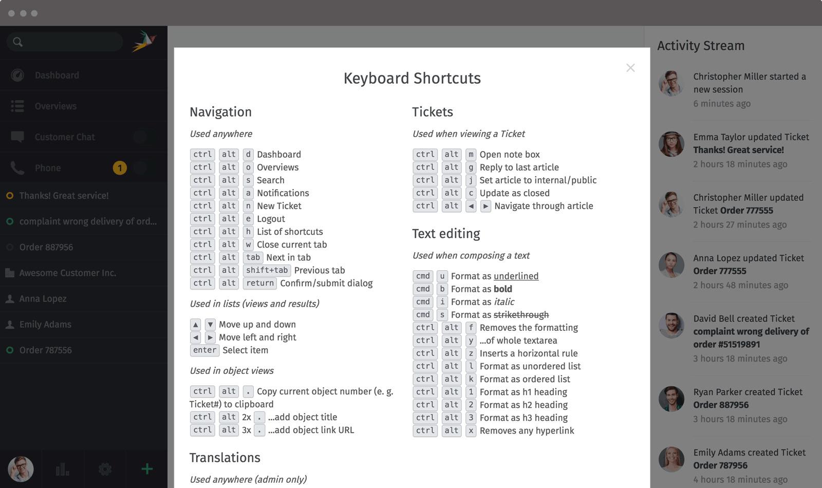 Zammad Screenshot Shortcuts Mac