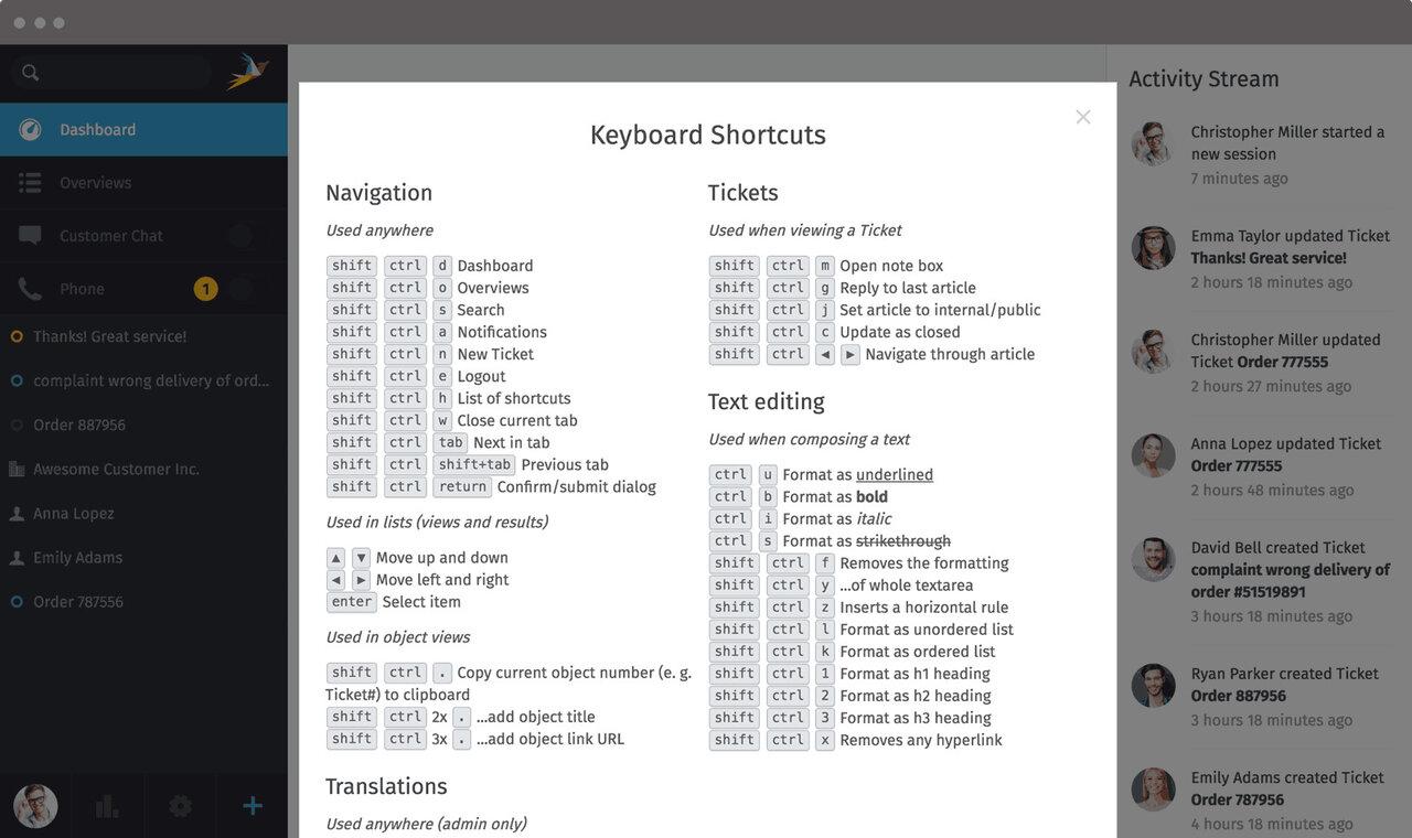 Zammad Screenshot Shortcuts Win Linux