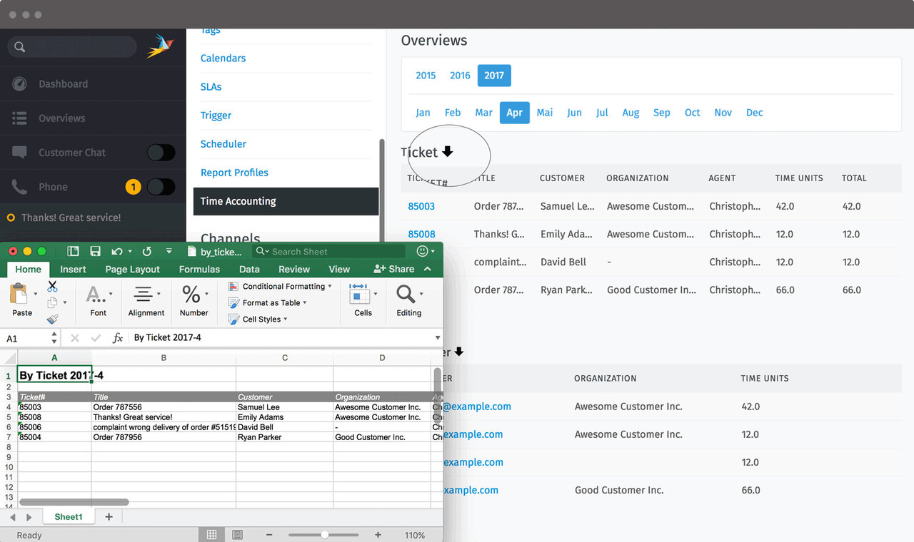 Zammad Screenshot Admin Time Accounting in Excel