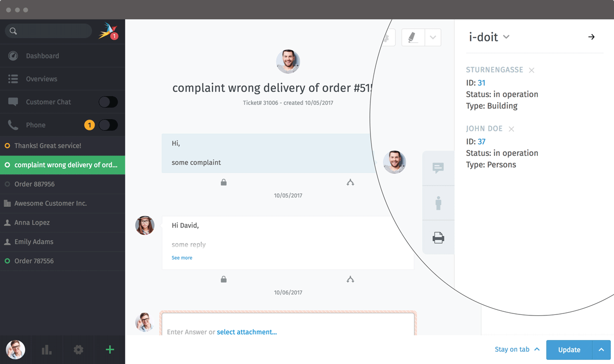 Zammad Screenshot i-doit sidebar objects
