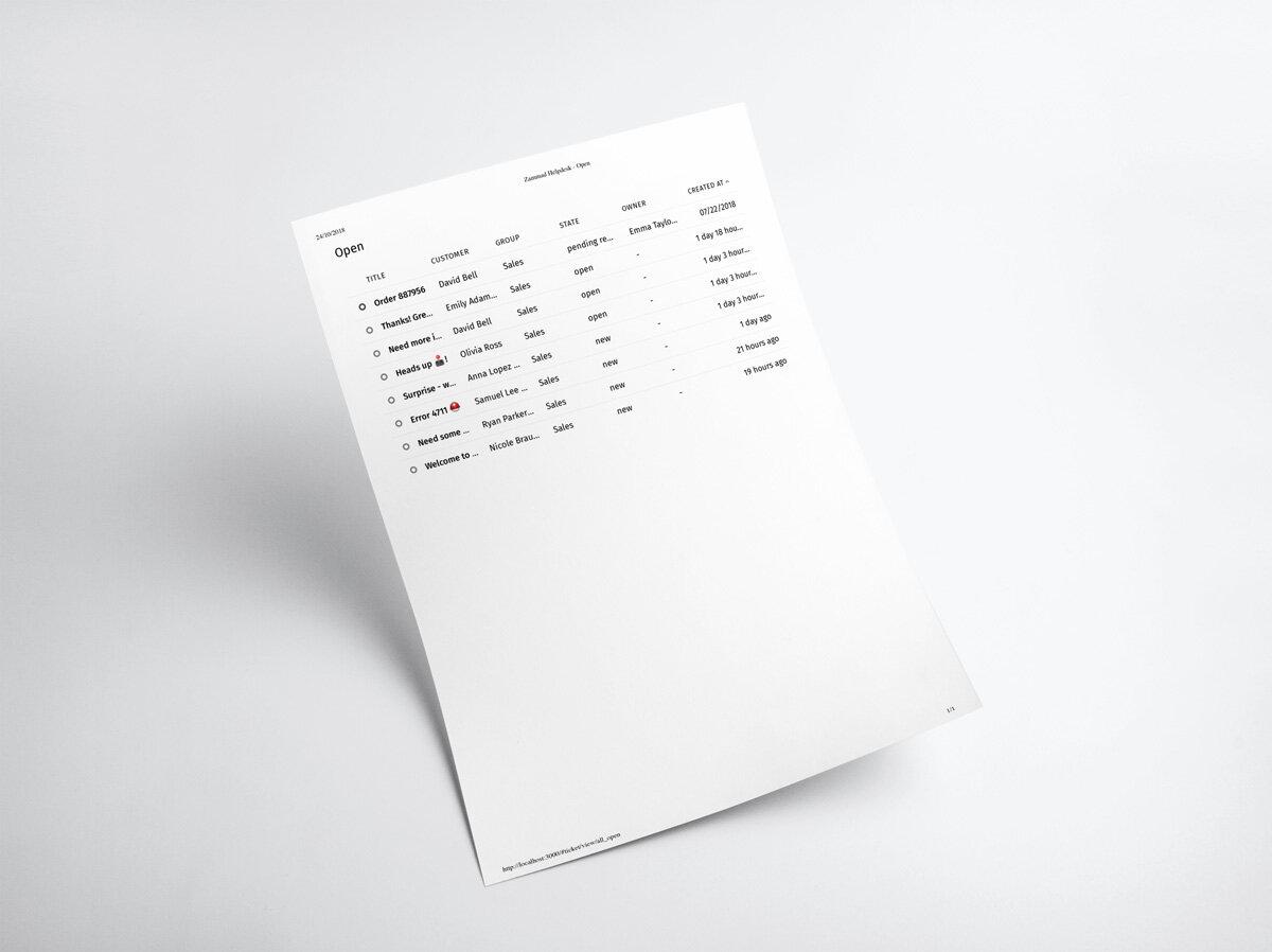 Zammad Screenshot print Ticket List