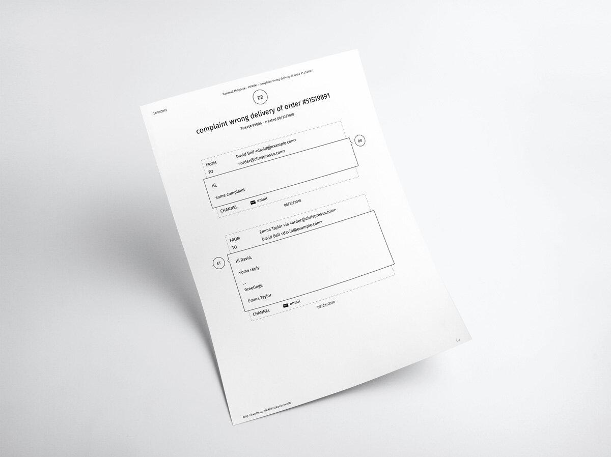 Zammad Screenshot print ticket