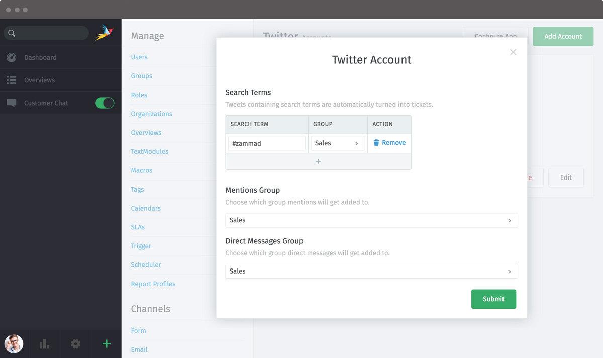 Screenshot Zammad Admin Twitter App