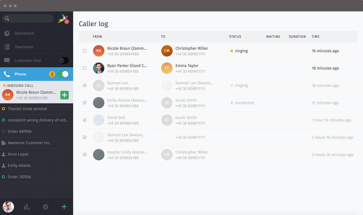 Screenshot Zammad CTI Caller log