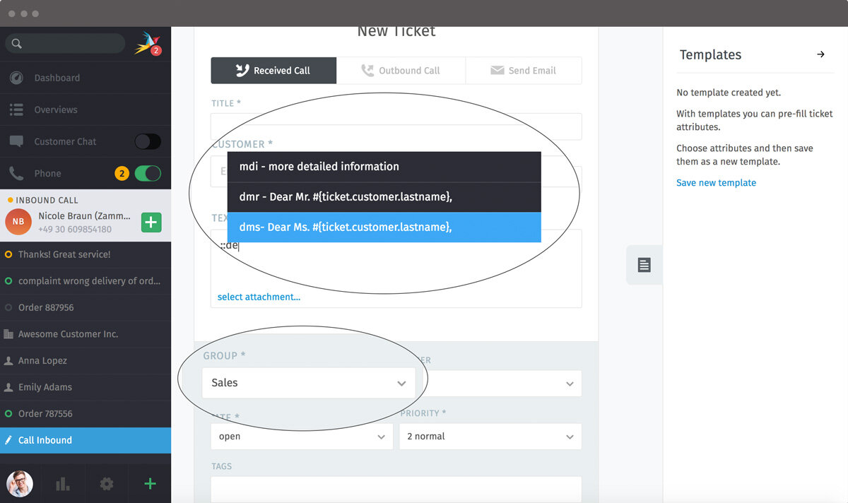 Screenshot Zammad text modules ticket create focus