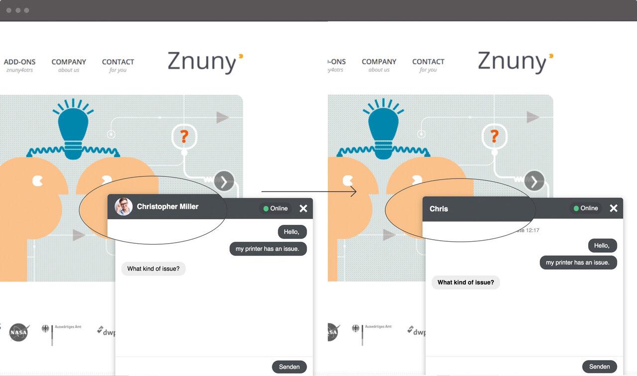 Screenshot Zammad Chat alternative