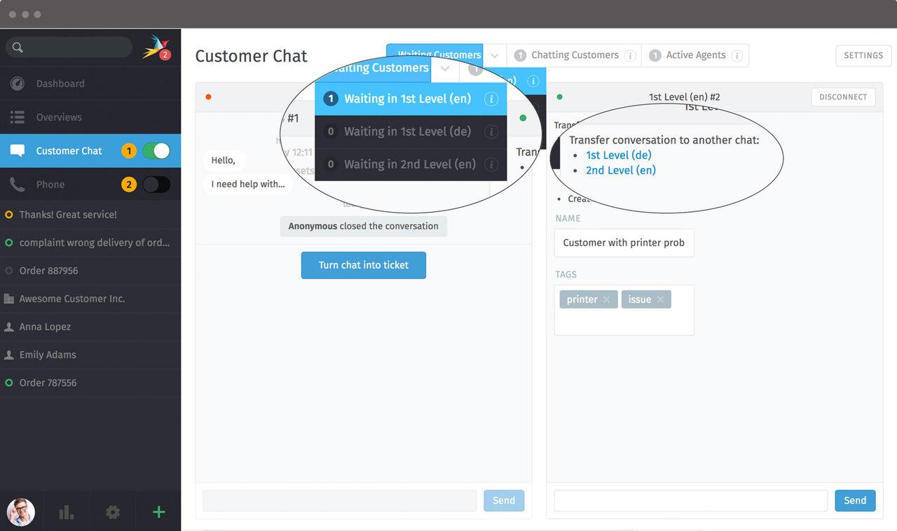 Screenshot Zammad chat transfer