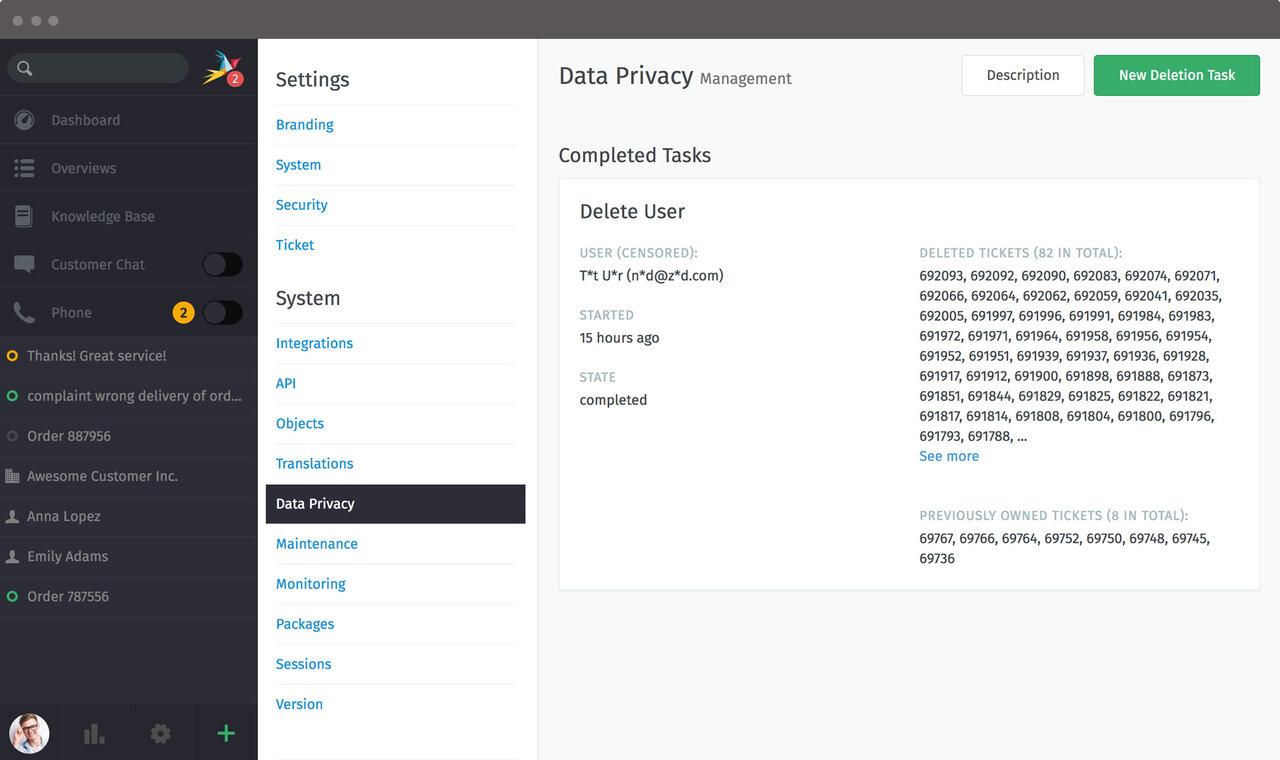 Screenshot Zammad Datenschutz