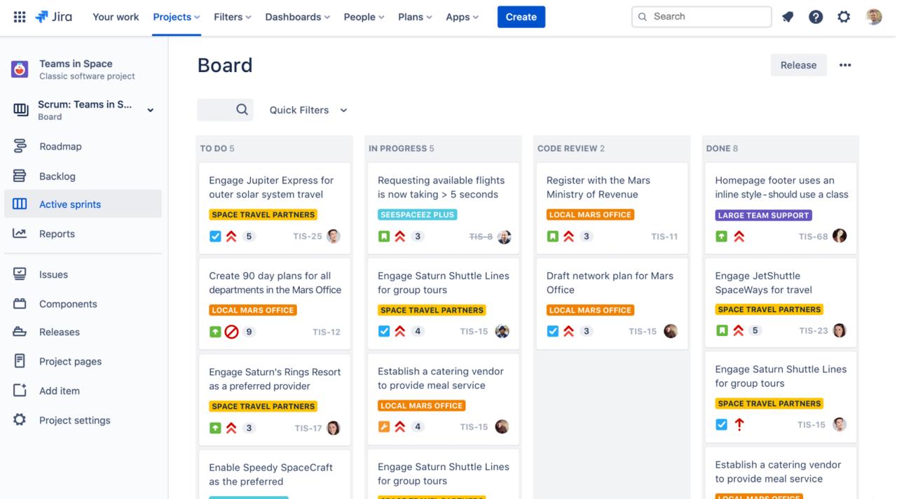 Screenshot of a Kanban board in the Jira software